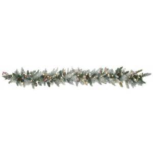 cordless pre lit led snowflocked cone berry garland buy now