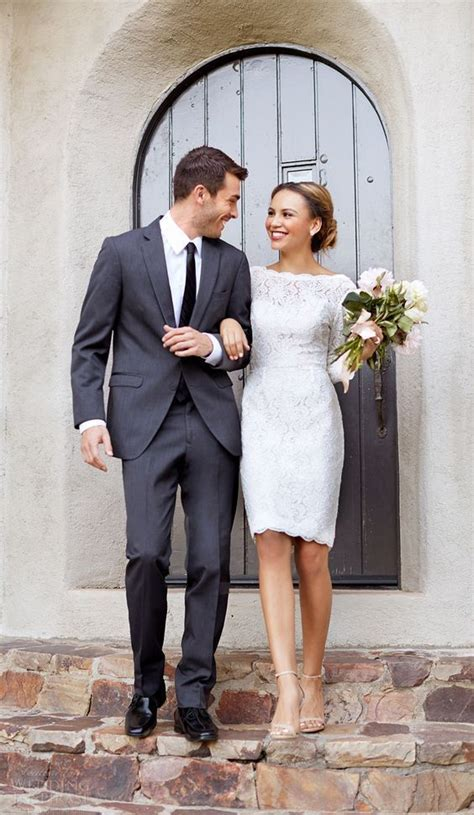 Picture Of a bateau neckline long sleeve knee wedding