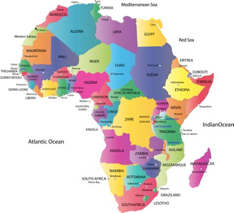 africa map of countries map of africa with countries and capitals