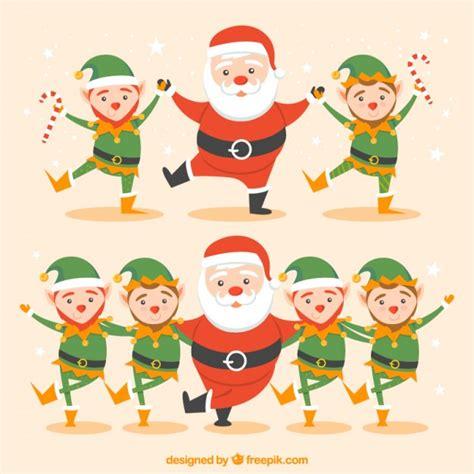 imágenes de santa claus bailando santa claus y elfos bailando descargar vectores gratis