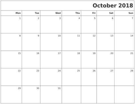 printable calendar blank 2018 october 2018 printable blank calendar