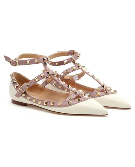 Valentino Studed valentino studded leather flats in beige black lyst