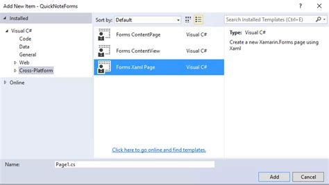 xamarin bluetooth tutorial visual studio missing forms xaml page from add new item