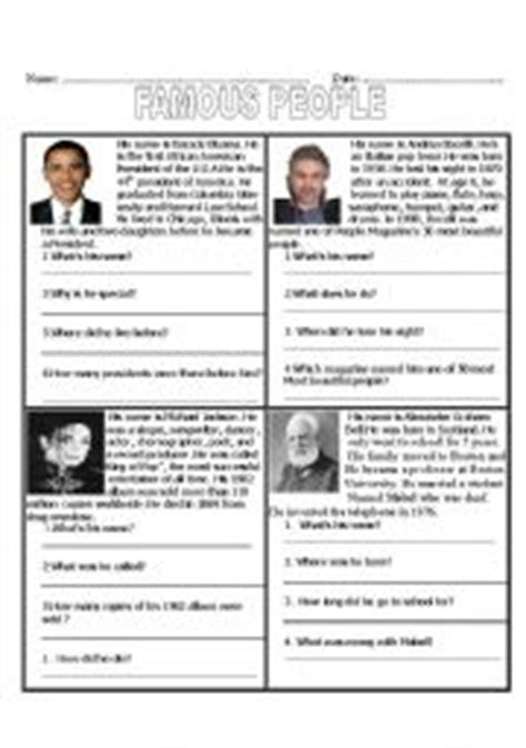 esl famous person biography intermediate esl worksheets famous people