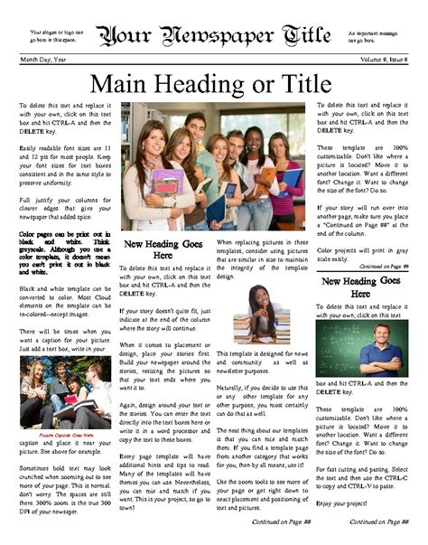 classic newsy front page for any school try this 11 quot x14