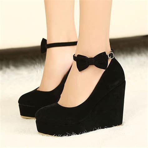 high heeled wedges black toe bow ankle fashion wedge heels pumps