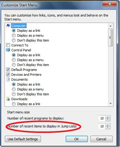 adjust(increase/decrease) the size of jump lists in windows 7