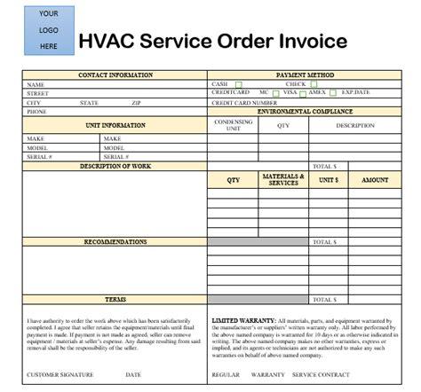 hvac service order invoice template 18 free hvac invoice templates demplates