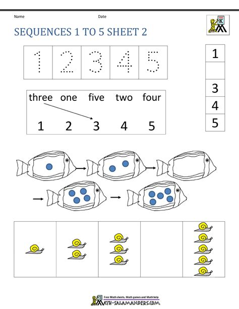 pattern sequence for kindergarten preschool number worksheets sequencing to 10