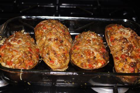 stuffed eggplant meatless monday dinner baked stuffed eggplant remcooks