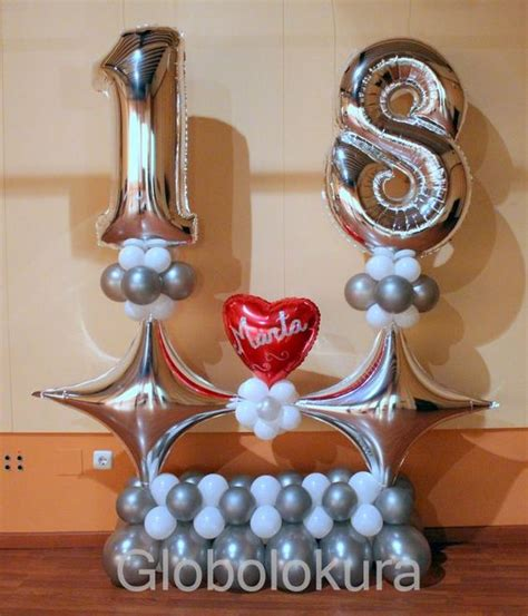 como decorar globos de numeros ideas para decorar con globos un cumpleanos numero 18