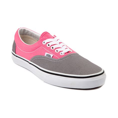 Pink Grey Shoes vans era skate shoe gray pink journeys shoes
