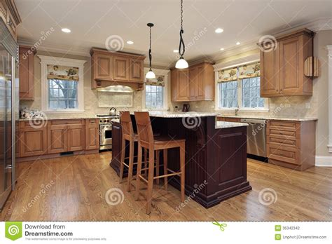 kitchen with double decker island stock photography