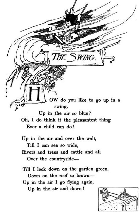 the swing poem by robert louis stevenson pin by bona bonitta on just poetic illustrated poesy