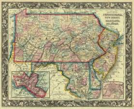 map maryland and pennsylvania county map of pennsylvania new jersey maryland and delaware s aug mitchell 1861 map 18