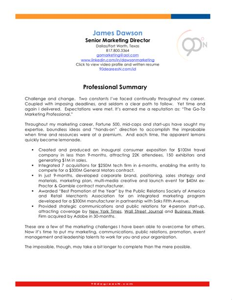 sle resume with summary statement professional summary resume exles 25 images