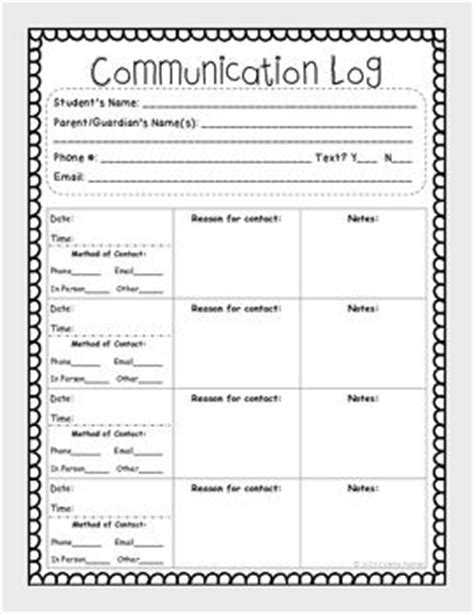 parent contact log template 17 best ideas about parent communication log on