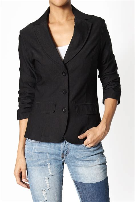Cs Slim Casual themogan s ruched 3 4 sleeve 3 button slim fit