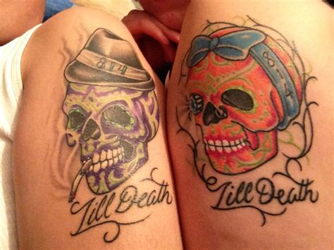 sugar skull couple tattoo sugar skull tats tats skull tattoos