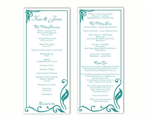 Wedding Program Template Diy Editable Text Word File Download Program Teal Wedding Program Blue Program Template Word