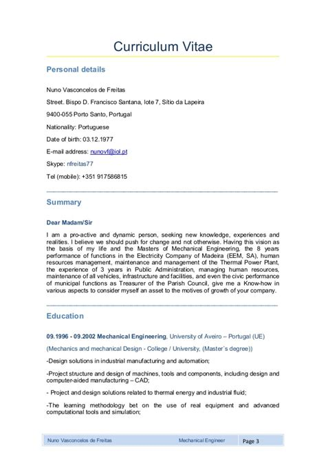 template curriculum vitae engineer mechanical engineer curriculum vitae