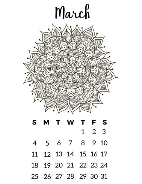 printable calendar 2018 to color free printable 2018 calendar mandala coloring pages