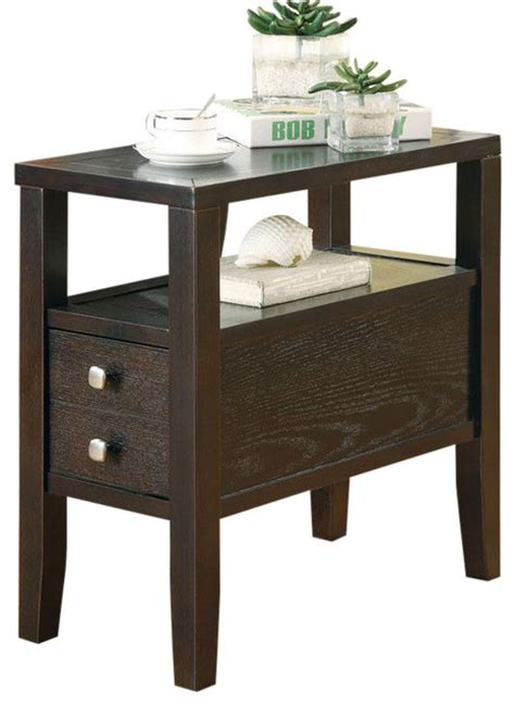 sofa side table with drawer casual cappuccino middle lower drawer shelf accent storage