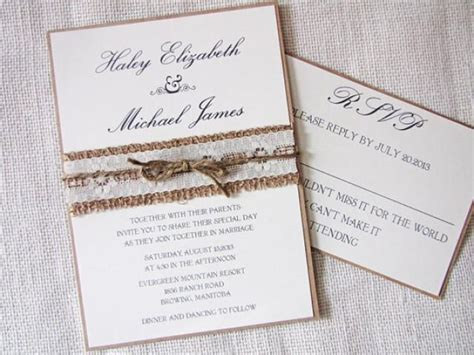 rustic wedding invitation burlap wedding invitation lace