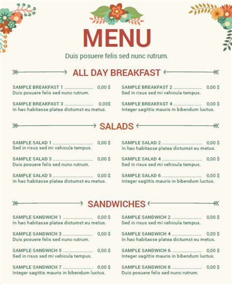 Menu Template Pdf sle menu template 29 in pdf psd word