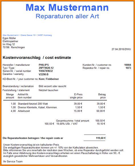 Angebot F R Gartenpflege Muster kostenvoranschlag reparatur muster 67 images belege