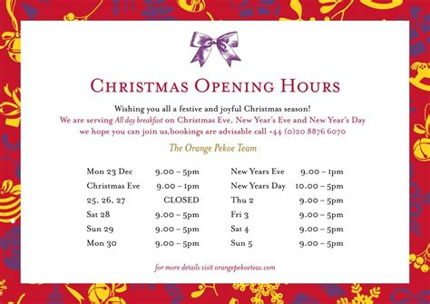 Christmas Opening Times Template Business Hours Signs With Christmas Opening Hours Template 2017 Opening Hours Letter Template