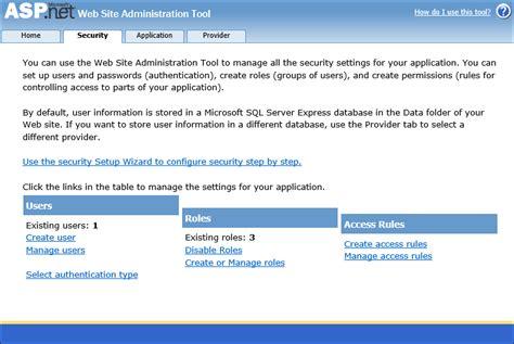 membuat website dengan asp net where is web site administration tool in vs2013 m reza