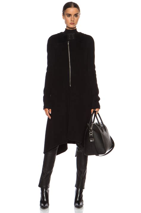 Rik Black rick owens eliel flared coat in black lyst