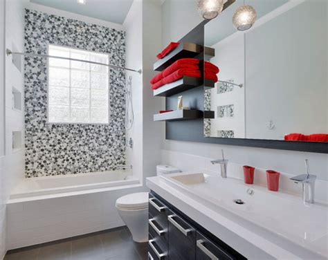 red black and white bathroom 5 easy bathroom makeover ideas