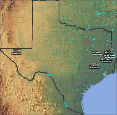 guadalupe mountains texas map national wilderness areas in texas texas national wilderness areas