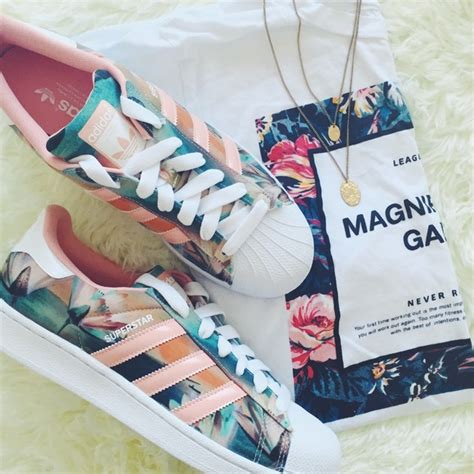 floral and coral adidas original sneakers poshmark