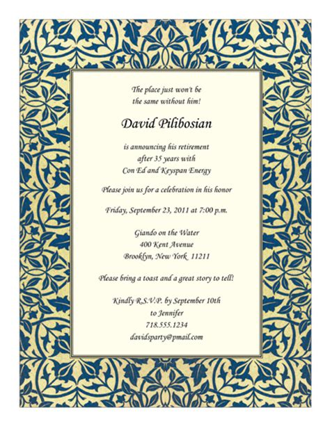 free retirement invitation templates for word retirement invitations templates gangcraft net