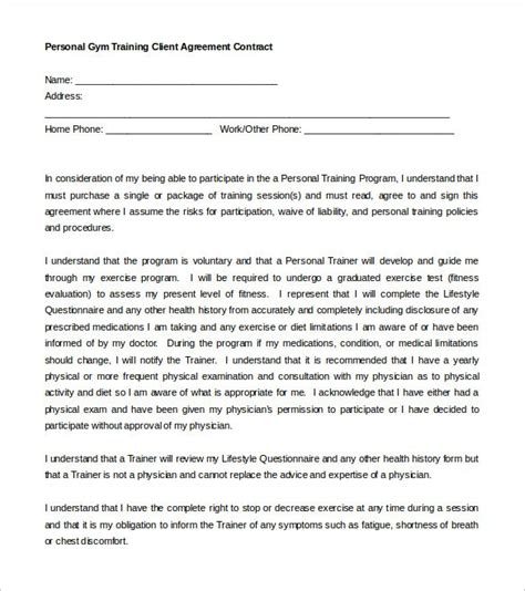 personal training contract template template design