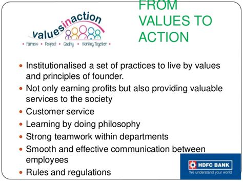 hdfc bank from values to