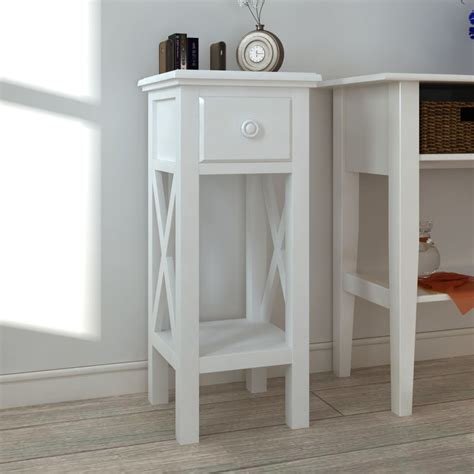 White Side Table White Telephone Side Table With Drawer Vidaxl