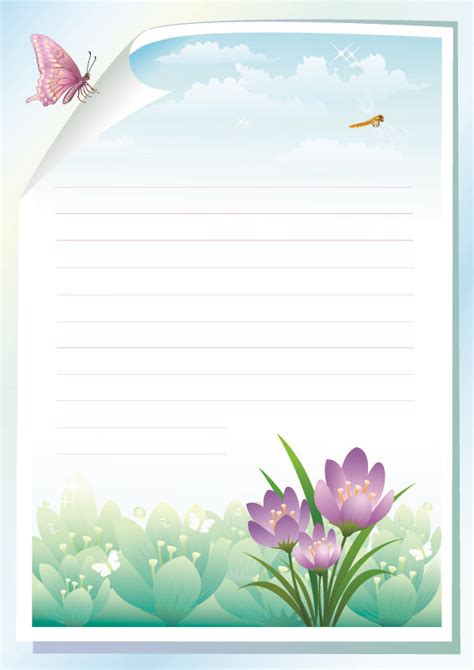 printable stationery flowers flowers stationery vector free vector 4vector
