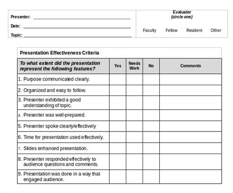 presentation evaluation template presentation evaluation forms 8 free sles exles