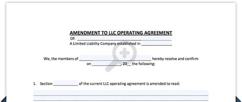 Llc Operating Agreement Amendment Template Amendment To Llc Operating Agreement Template