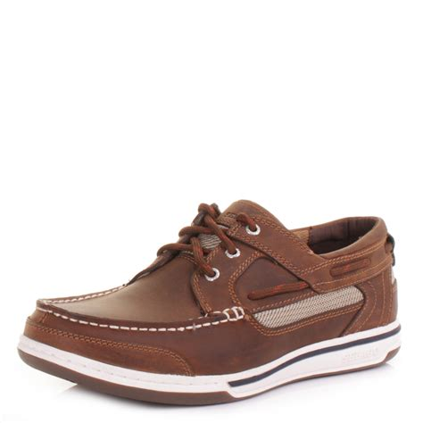 mens sebago trition 3 eye walnut leather deck boat