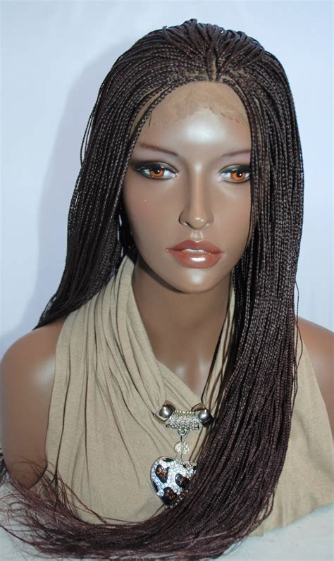 micro braid wigs braided lace front wig micro braids color 99j in 24 inches