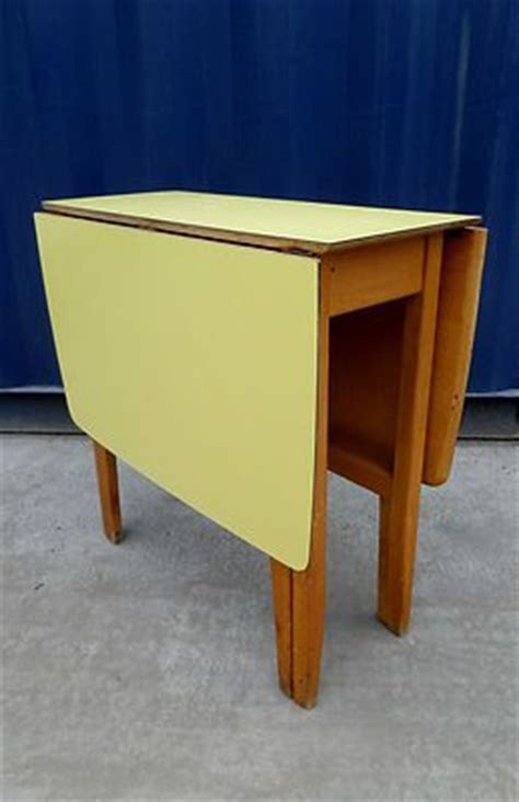60s Kitchen Table Vtg 40s 50s 60s Retro Yellow Formica Beech Wood 2 Drop Leaf Kitchen D