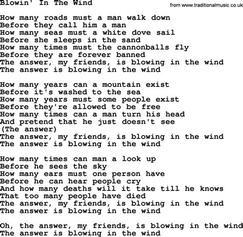 testo blowing in the wind blowin in the wind bob