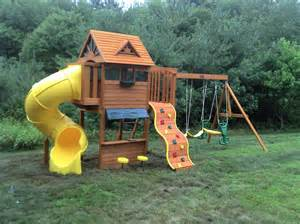 Backyard Wooden Swing Sets E Street Assembly Big Backyard Cedar Summit Built
