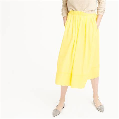 j crew pleated midi skirt in yellow lemon lyst