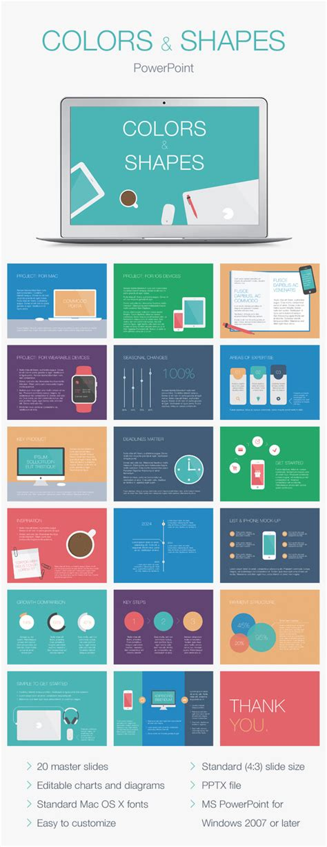 layout template graphicriver colors shapes powerpoint template graphicriver
